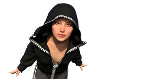 A young bald girl in sporty suit with hood. She is running and looking at the camera Stock Image