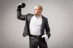 A young bald man in suit. Young bald man in white shirt, gray suit and boxing gloves showing biceps and posing on white isolated background stock photos