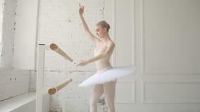 Young ballerina in ballet class stock video