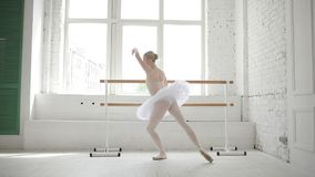 Young ballerina in ballet class stock footage