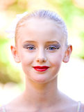Young Ballerina Girl Face. A portrait of a 10 year old girl with makeup Royalty Free Stock Image
