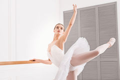 Young ballerina keeping her arm and leg in the air Stock Photography