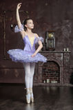 Young ballerina in a lilac Stock Photos