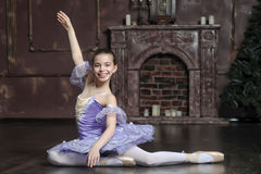 Young ballerina in a lilac Stock Images