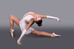 The young ballerina in  points dances Royalty Free Stock Image