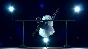 Young ballerina standing near barre, slow motion stock video
