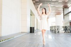 Free Young Ballerina Standing On Tiptoe In The City Royalty Free Stock Images - 163671089