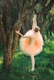 Young ballerina stretching and do exercise before dance outdoors Royalty Free Stock Photography