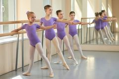 Young ballerinas having rehearsal at ballet school. Pretty young ballet dancers training at ballet barre in class Royalty Free Stock Image