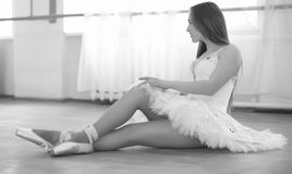 Young ballet dancer on a warm-up. The ballerina is preparing to Royalty Free Stock Images