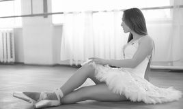 Young ballet dancer on a warm-up. The ballerina is preparing to Royalty Free Stock Image