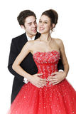 Young Ballroom Dancers. Boy & girl, in formal attire, dancing at their high school prom Royalty Free Stock Photos