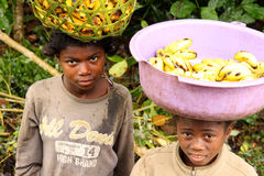Young banana sellers Royalty Free Stock Images