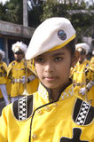 Young band majorette. Picture of a parade during a town annual fiesta in the Philippines Stock Photos