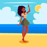 Young barefooted african american woman dancing Royalty Free Stock Photography