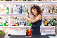 Young barmaid gurl. Young barmaid inside Be Towers bar in Budrio, Bologna, Italy Stock Images