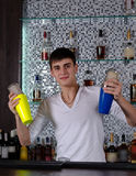 Young barman shaking two cocktail shakers Stock Image