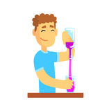 Young bartender man character standing at the bar counter pouring alcoholic beverage  Stock Image
