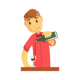 Young bartender man character standing at the bar counter pouring wine Illustration Royalty Free Stock Photo