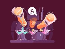 Young bartender pouring drinks Stock Photos