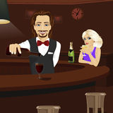 Young bartender pouring red wine into glass while beautiful blonde looking at him holding glass of champagne Stock Photos