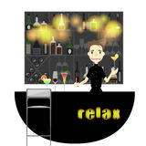 A young bartender sever bottles of alcohol and wine glass Vector flat design illustration Royalty Free Stock Photography