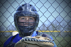Young baseball catcher Royalty Free Stock Image