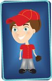 Young baseball player. A baseball player illustration on a card Stock Photos
