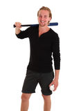 Young baseball player. Baseball as a hobbie. Young blonde man in his 20s wearing a white shirt ready to hit. White background Royalty Free Stock Images
