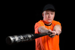 Young baseball player with bat Stock Photo