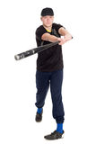 Young baseball player with bat Royalty Free Stock Photo