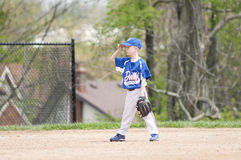 Young Baseball Player on field Royalty Free Stock Photo