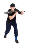 Young baseball player in the gaming posture Royalty Free Stock Images