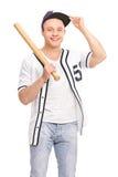 Young baseball player holding a bat Stock Image
