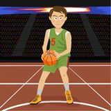 Young basketball player on big professional arena during the game. Tense moment of the game. Vector illustration stock illustration