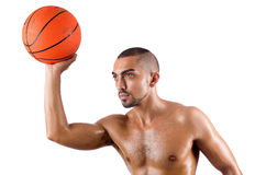 Young basketball player isolated on the white Royalty Free Stock Photo