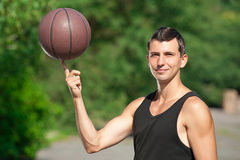 Young basketball player outdoors Royalty Free Stock Photo