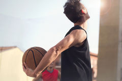 Free Young Basketball Player Ready To Play With His Street Friends Royalty Free Stock Photos - 73220628