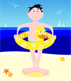 Young bather with lifesaver shaped duck. Funny  illustration that depicts a young bather with lifesaver shaped duck Stock Image