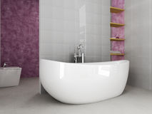 Young bathroom. Grey and purble modern bathroom Stock Photos