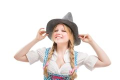 Young Bavarian woman in dirndl. Stock Image