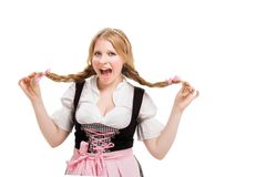 Young Bavarian woman in dirndl. Royalty Free Stock Photography
