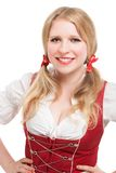 Young Bavarian woman in dirndl. Royalty Free Stock Photo