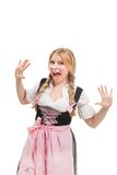Young Bavarian woman in dirndl. Royalty Free Stock Images