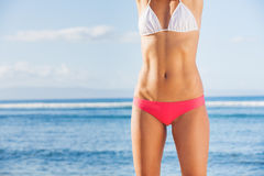 Young Bbeautiful in Bikini at the Beach Stock Images