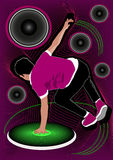 Young bboy performance flyer Royalty Free Stock Photo