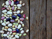 Young beans of different varieties and colors with a side border Stock Images