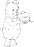 Young Bear Holding A Cake Coloring Page. Vector illustration coloring page of a cute young bear holding a delicious cake stock illustration