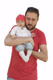 Young beard father and his baby girl isolated on white Stock Image