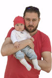 Young beard father and his baby girl isolated on white Royalty Free Stock Image